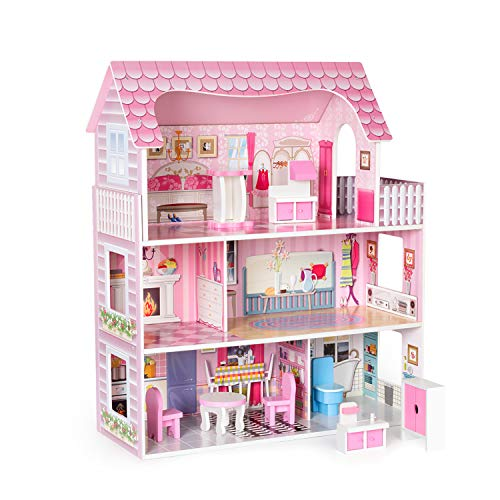 ROBUD Wooden Dollhouse with Furniture, Pretend Play Doll House Toys for Kids, Gift for 2 3 4 5 6 Years Old Girls