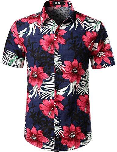 JOGAL Herren Casual Floral Blumenmuster Kurzarm Hawaiihemd 3X-Large Navy