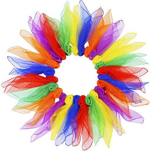 Miotlsy Kindergarten Tücher Tanz Jonglier Tücher Performance Schals Chiffon Tanz Kinder Spielen Sinnesspielzeug für Kleinkinder Babys 16 Farben 60 x 60 cm Packung mit 16