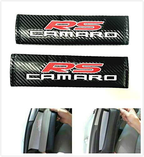 Tonet Pair Carbon Fiber Camaro RS Emblem Seat Belt Cover Shoulder Pads Cushion for Chevy