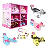 FYD Princess Dress Up Set 4 Pairs of Shoes + Fashion Jewelry Accessories Little Girl Role Play Fashion Beauty Gift Set for Girls Ages 3-10 (4 Pairs Slippers and Jewelry Set)