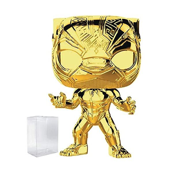 Marvel Studios 10th Anniversary – Black Panther (Gold Chrome) Funko Pop! Vinyl Figure (Includes Compatible Pop Box Protector Case)