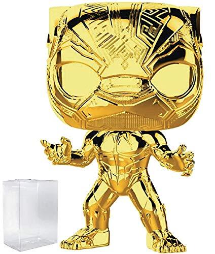 Marvel Studios 10th Anniversary - Black Panther (Gold Chrome) Funko Pop! Vinyl Figure (Includes Compatible Pop Box Protector Case)