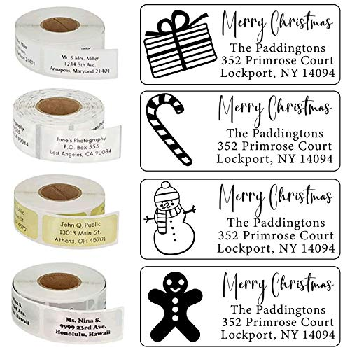 Christmas Address Labels Roll 50 100 250 500 Custom Personalized Stickers Xmas Tree Santa Happy Holidays Family Business Clear White Gold Silver Return Customized Mail Wedding (Silver Labels)