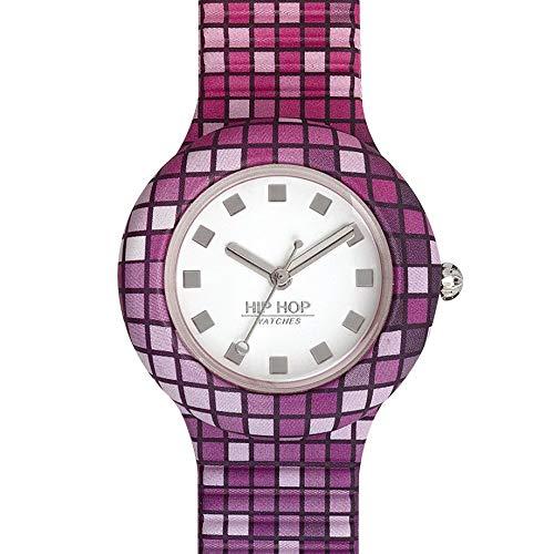 Orologio HIP HOP donna BACK TO THE 90'S quadrante bianco e cinturino in silicone viola, movimento SOLO TEMPO - 3H QUARZO