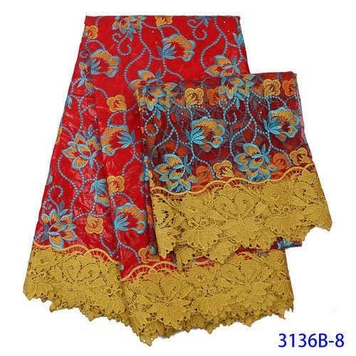 Desconocido Vestido de Encaje Africano de Encaje con cordón de Cera de Encaje Rojo de Encaje para Mujer, Vestido de Boda o Fiesta, Fibra sintética, Rojo, 5+2yards
