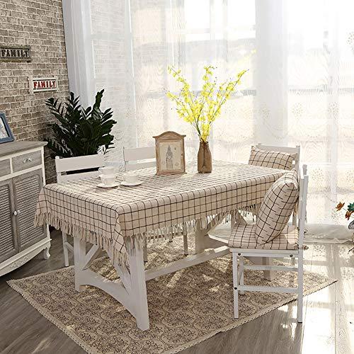 Cozomiz Mantel de tela de lino y algodón con borla para mesa cuadrada retangular, estilo moderno, cubierta protectora para muebles, tapiz, mantel decorativo, 134,6 x 177,8 cm, color beige