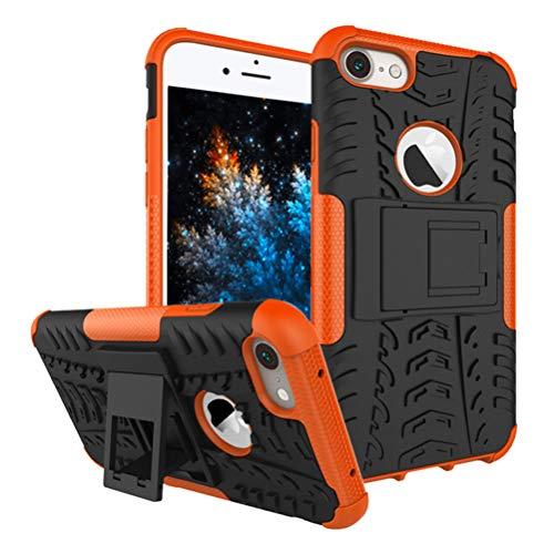 MRSTER iPhone 7 Custodia, [Heavy Duty Protezione] [Dual Layer] Difficile Silicone Kickstand Ibrida Shock Proof Cover Custodia Compatibile Apple iPhone 7 / iPhone 8 4.7'. Hyun Orange