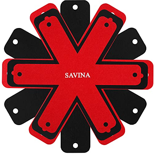 """SAVINA Pot & Pan Protectors - BIG Different sizes (16""""15""""14""""12"""") - SET OF 8-100% Anti-slip Material Felt, Cookware Protectors, Keep Kitchenware of Scratches and avoid clatter, Anti-Slip Divider Pads."""