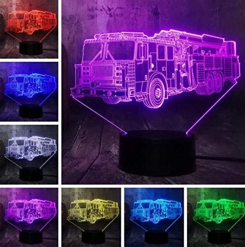 Lumière De Nuit De Noël Cool Fire Engine Voiture 3D Led 7 Couleur Lampe De Poche Veilleuse Chambre Lampe De Bureau Décor À La Maison Enfant Enfant Noël Halloween Jouet Cadeau