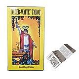 Baraja de cartas del Tarot de Rider Waite Edición en español en inglés con guía impresa en español e instrucción electrónica en inglés, juego de adivinación de adivinación