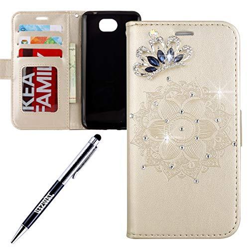 JAWSEU kompatibel mit Huawei Y6 II Compact Hülle Handy Tasche Bling Diamant Glitzer Mandala Muster PU Leder Tasche Brieftasche Flip Case Wallet Tasche Lederhülle Schutzhülle,Gold