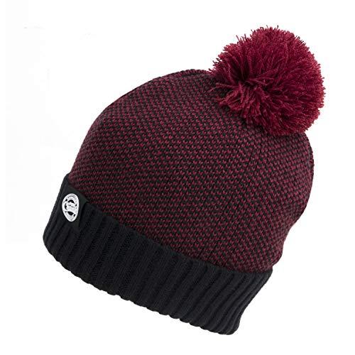 Fox Chunk Bobble Hat Wollmütze Burgundy/Black Marl