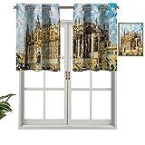 Hiiiman Cortinas con ojales para ventana, gran edificio gótico a orilla del mar, catedral de Palma de Mallorca, 2 unidades, 106,7 x 91,4 cm para ventana de cocina