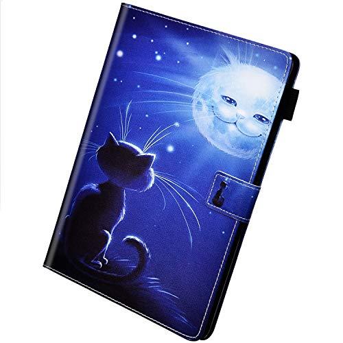 Herbests Compatibel met Samsung Galaxy Tab S5e 10.5 2019 (T720/T725) ultradunne lichte beschermhoes van PU-leer met standfunctie, kat