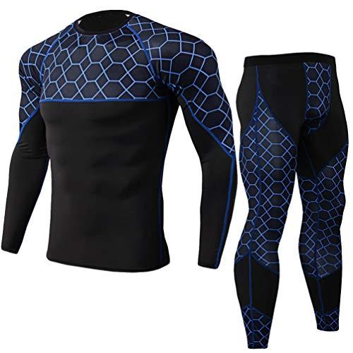 Yujeet Männer Sport Compression Sets Männer Gemustertes Elastisches Fitness Langarm Schnelltrocknendes T-Shirt & Männer Sport Enge Fitnesshose (Blau, Asia XL)
