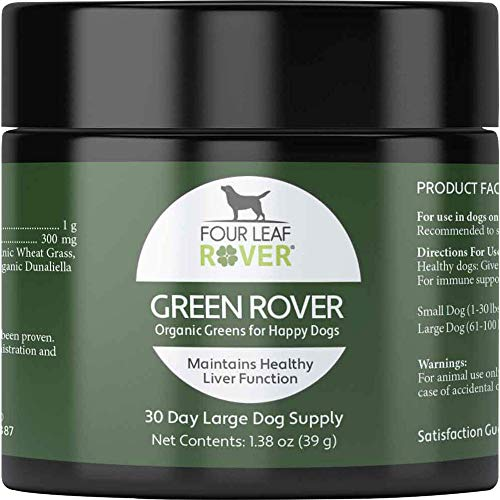 Four Leaf Rover: Green Rover - Super Greens with Organic Broccoli Sprout and Spirulina Powder for Dogs - Up to 120 Servings, Depending on Dog's Weight - Liver Support - Vet Formulated - For All Breeds