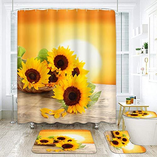 ArtSocket Badezimmer-Sets mit Duschvorhang & Vorlegern & Zubehör Sonnenblume Gold Sonnenschein Pflanze Wildgelbe Blume mit 12 Haken, strapazierfähig, wasserdicht