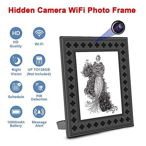 Cámara espía Oculta Marco de Fotos WiFi Visión Nocturna HD y detección de Movimiento Cámara para niñeras con batería de un año Tiempo de Espera y alertas instantáneas al teléfono Inteligente