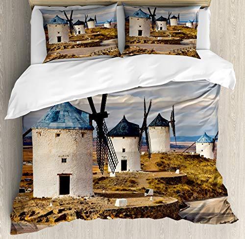ABAKUHAUS Windmolen Dekbedovertrekset, Middeleeuwse oude Spanje, Decoratieve 3-delige Bedset met 2 Sierslopen, 200 cm x 200 cm, Blauw Wit Pale Brown