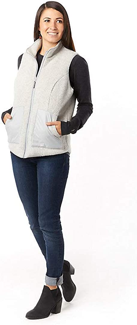 Smartwool Women's Reversible Sherpa Vest - Anchor Line Merino Wool Outerwear Storm Gray: Clothing