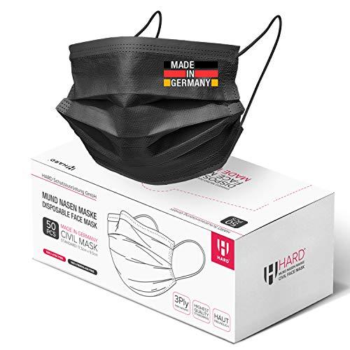 HARD 50x Mundschutz Made in Germany, Öko TEX 3-lagig, Ohrenschonendes spezial Gummi, schützende Mund-Nasen-Bedeckung, bequeme Zivile Einweg-Gesichtsmasken Erwachsene - Schwarz