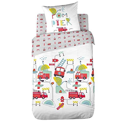 CÔTE DECO Parure de lit Enfant Réversible Camion Pompier Housse de Couette 140x200cm + 1 taie d'oreiller 63x53cm 100% Coton Bio*