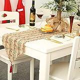 AirSMall Noel Tischläufer Weihnachten Tischdecke Rot Tischband Xmas Tischtuch Tisch Läufer Mitteldecke Leinen tischläufer für Weihnachtsessen Esstisch Kommunion Tischdeko Winter Deko