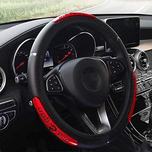 Funda para volante de piel sintética, universal, 37-38 cm, transpirable, antideslizante, suave y cómoda, color rojo