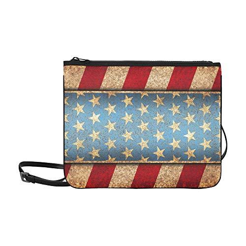 WYYWCY Grunge Metal Rusty America Independent Kundenspezifische hochwertige Nylon Slim Clutch Bag Cross-Body Bag Umhängetasche
