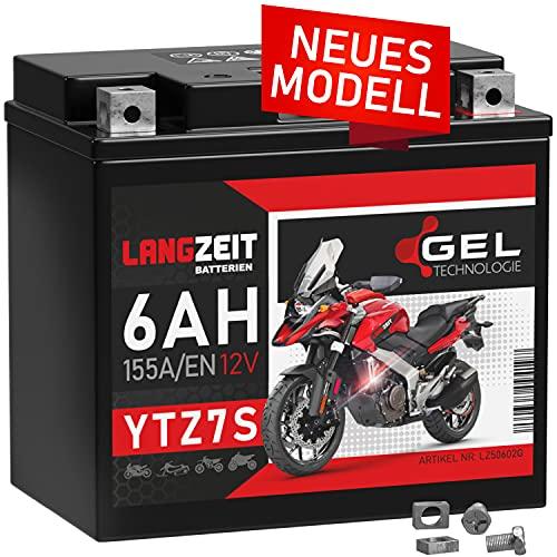 LANGZEIT YTZ7S GEL Motorradbatterie 12V 6Ah 155A/EN TTZ7S-BS YTZ7-S GEL12-7Z-S 50602 Gel Batterie 12V doppelte Lebensdauer auslaufsicher wartungsfrei