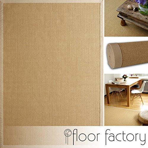 floor factory Alfombra Natural de Sisal Beige 80x150 cm Borde de algodón 100% Fibra Natural