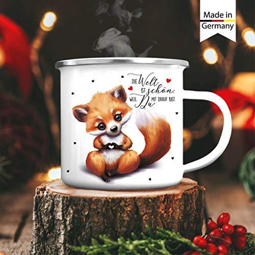 Wandtattoo Loft Emaille Campingbecher Fuchs Die Welt ist schön, Weil Du mit Drauf bist Kaffeebecher Tasse/silberner Becherrand