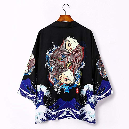 LYH Yukata Japanese Dragon Kimono Cardigan Men Samurai Costume Asian Clothes Kimonos Jacket Mens Shirt -Style_H_L