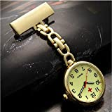 Analógico Reloj de Bolsillo para Enfermera,Reloj de bolsillo de enfermera médica simple, reloj de cuarzo luminoso impermeable masculino y femenino-dorado luminoso,Portátil Reloj de Bolsillo enfermera