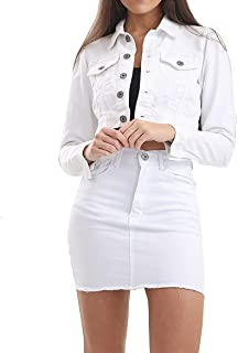 P84 Celebmodelook Denim Button Detail Ladies Jeans Crop Jacket Co Ord Mini Skirt