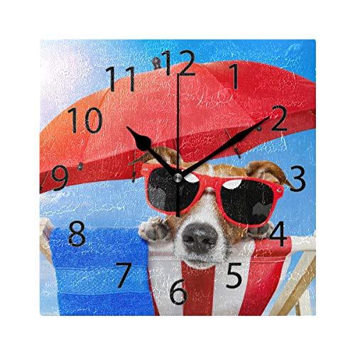 XiangHeFu Horloge Murale carrée 20,3 x 20,3 cm Silencieux pour Le Bain de Soleil sur Chaise de terrasse Décoration pour la Maison, Le Bureau, l'école