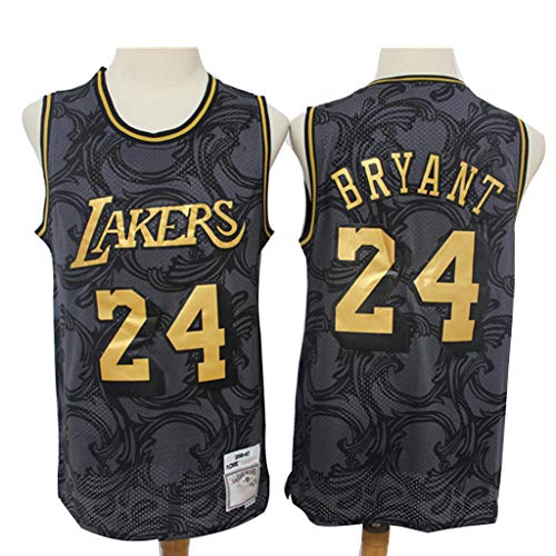 New Kobe Lakers #24 Basketball Jersey, Embroidered Edition Sleeveless Sport Top Gym Tank-Black Gold Edition Vintage Limited Edition Jersey-XL