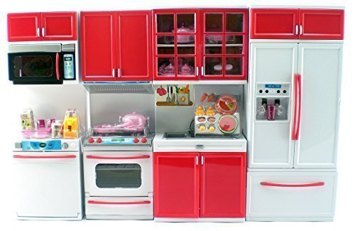 Red Deluxe Modern Kitchen Compatible With Barbie Dolls Stove Fridge Micro Wave Etc Buy Online In Cayman Islands At Cayman Desertcart Com Productid 18915625