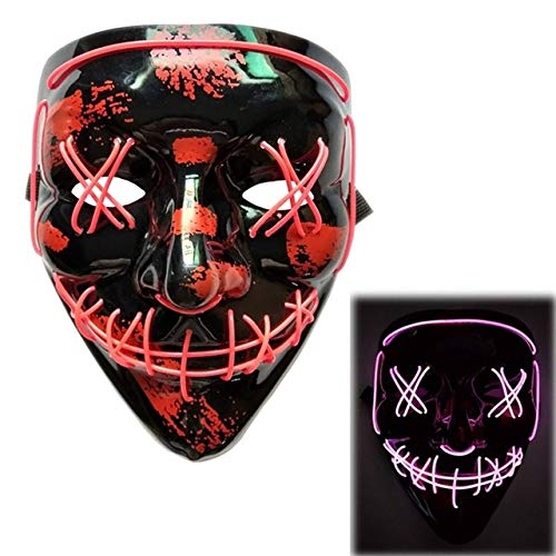 BFMBCHDJ Halloween Neon Led Maske Party Kostüm Purge Maske Wahl Cosplay Kostüm Führt Dj Party Im Dunkeln Leuchten A11 One Size