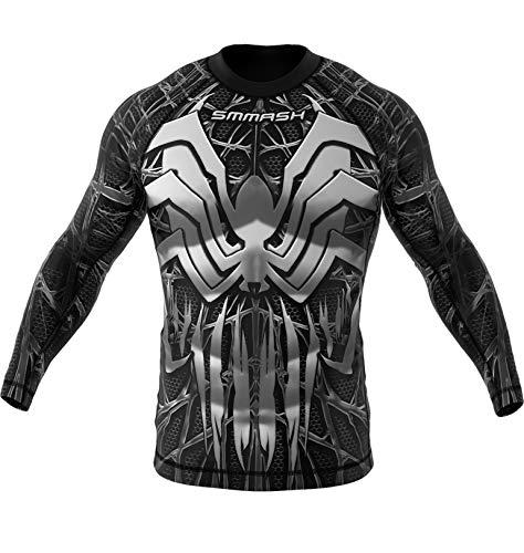 SMMASH Venomous Rashguard Uomo Manica Lunga, Maglietta a Compressione per MMA, Krav Maga, BJJ, Grappling, Traspirante e Leggero, Materiale Antibatterico, Prodotto nell'Unione Europea (S)