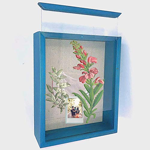 KelPen Premium Shadow Box Pine Wood Display Case 8x10 inches, 2 inch deep, Rustic Wood Weathered Frame Box [Front Loading] Display Memory Photos, Wedding, Tickets, Medal, Bouquet, Collages [Blue]