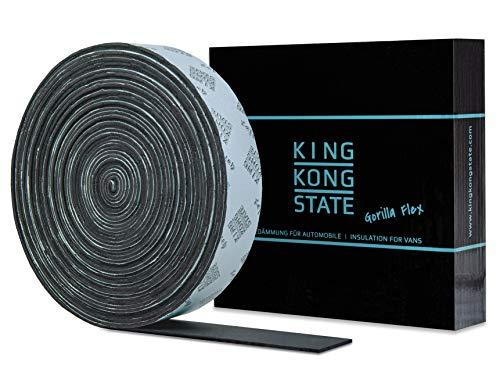 King Kong State Gorilla Flex Tape 3 mm - 20 m x 60 mm extrabreites selbstklebendes Tape zur Isolierung von Fahrzeugen - flexibles Kautschuk-Tape zur Wärmedämmung