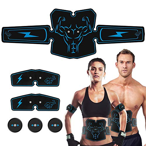 Haofy ABS Stimulator Abdominal Muscle Toner Trainer, USB Rechargeable 6 Modes & 10 Levels Ultimate Ab Stimulator, Portable Wireless Body Fitness Belt Workout Machine for Abdominal, Arm & Leg Training/EMS Hip Trainer