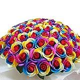 お好きな本数 ソープフラワー花束 レインボーローズ ビビット(b) 50本 ブーケ 虹色 バラ 誕生日 記念日 お祝い 結婚 退職 シャボンフラワー 造花 母の日 ギフト プレゼント クリスマス パーティー