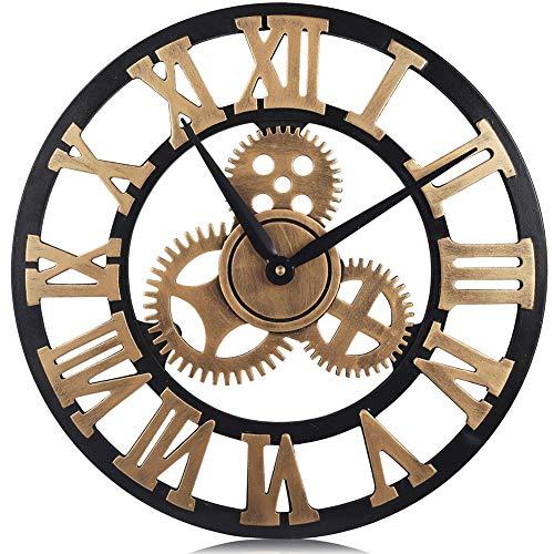 TOPY Vintage tandwiel-wandklok, 3D Retro niet getikt ronde klok met Romeinse cijfers rustieke, grote kunst home decoratie voor de woonkamer