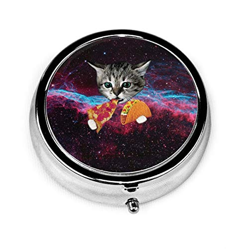 Space Taco Galaxy Cat Custom Fashion Silver Round Pill Box Medicine Tablet Holder Wallet Organizer Case For Pocket Or Purse Vitamin Organizer Holder Decorative Box