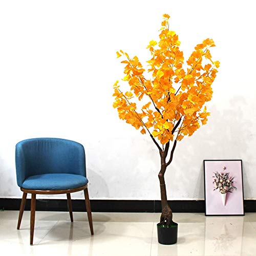 Simulation Flower,Silver Leaf Apricot Tree,Large Artificial Tree,Plastic Simulation Plant Potted Living Room Indoor Balcony Office Home Decoration