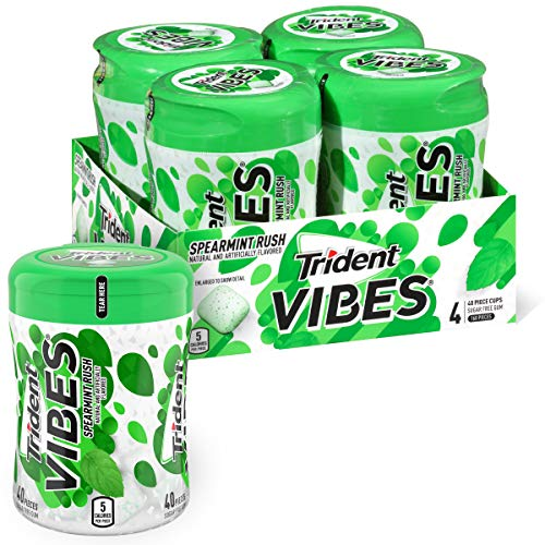Trident Vibes Spearmint Rush Sugar Free Gum, 4 Bottles of 40 Pieces (160 Total Pieces)