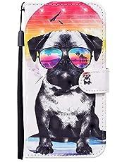 CRABOT Vervanging voor Samsung Galaxy A30S/A50/A50S Telefoon Case 3D visuele Lederen Magnetische Sluiting Stand functie Portemonnee Flip met Kaartsleuven Case+1* Gratis Screen Protector (Bril Hond)